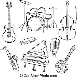 Jazz band set - Set of jazz and rocknroll band musical...