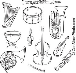 Symphony Orchestra Set - Vector sketch set of Symphony...
