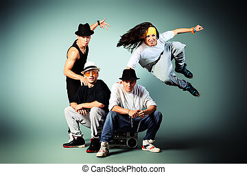 party friends - Group of modern dancers dancing hip-hop at...