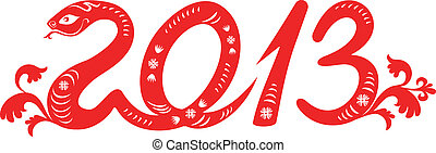 2013 snake year. - chinese paper-cut snake as symbol of year...