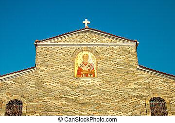 Old Church at mountain town Litichoro