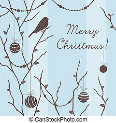 Vector winter card with bird on barren tree branches