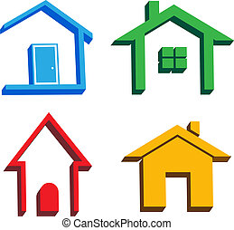 3D houses icons - 3D Houses in four styles