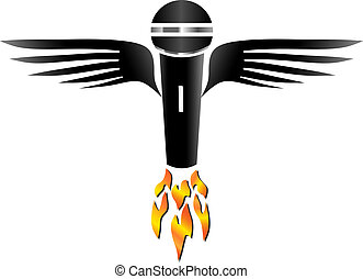 Flying Microphone - Microphone with wings and flames