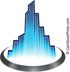 Skyscraper icon - Skyscrapers with modern blue glasses