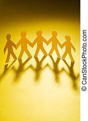 papel, pessoas, teamworking, conceito