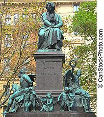 雕像, 維也納,  Ludwig, 貝多芬, 搬運車