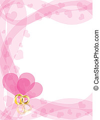 Wedding Rings on Heart Swirls Border - Wedding Rings Gold...