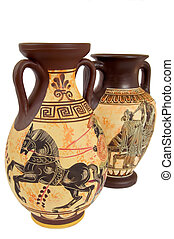 Greek vases1 - two ancient greek vases isolated over white