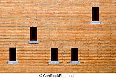 Yellow brick wall - Windows on yellow brick wall