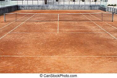 Tennis court - Empty clay tennis court