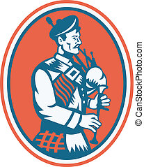 Scotsman Scottish Bagpipes Retro - Illustration of a...