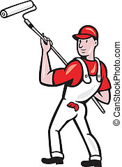 House Painter With Paint Roller Cartoon - illustration of a...