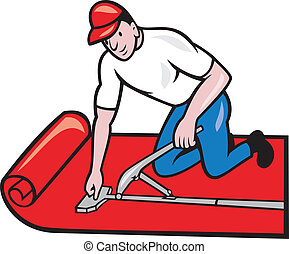 Carpet Layer Fitter Worker Cartoon - Illustration of a...