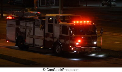 Fire truck  at night