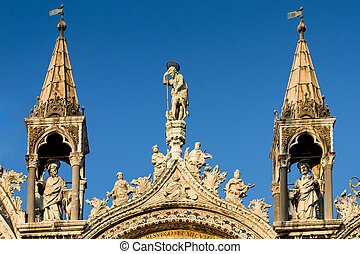 Venice cathedral, architectural detail in Italy - Saint...