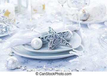 Place setting in silver for Christmas - Place setting in...