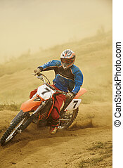 motocross bike - motocross bike in a race representing...
