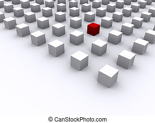 Outstanding red cube among other white cube - 3d render