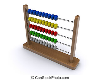 Abacus 1 - A wooden abacus on clear - 3d render