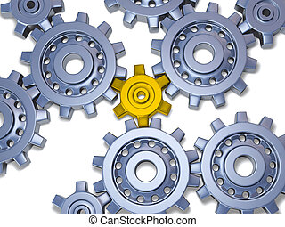 Some silver gears with one Gold