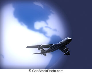 Airplane 92 - Conceptual airplane scene with earth globe in...