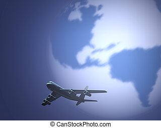Airplane 91 - Conceptual airplane scene with Earth globe in...