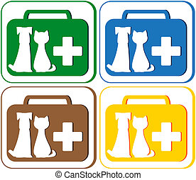veterinary symbol with portfolio - colorful green, blue, red...