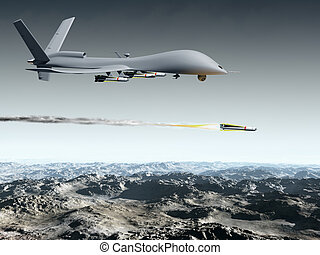 Combat Drone - Drone aircraft launching an air to ground...