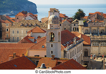 Detail of Dubrovnik Croatia at sunrise, travel background