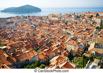 Panorama of Dubrovnik in Croatia at sunrise, travel background