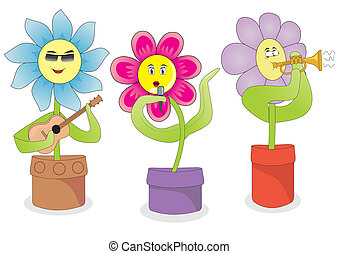 Singing flowers - Illustration of singing flowers