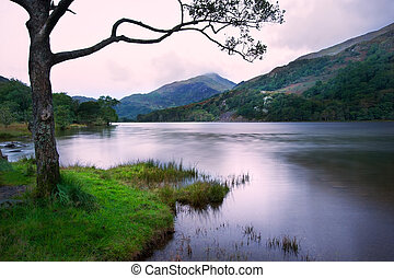 View of sunrise over Llyn Gwynant towards landscape of Yr...