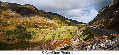 View of Nant Ffrancon valley from Ogwen in Snowdonia...