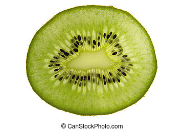 A sliced kiwi fruit, isolated on white