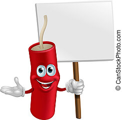 Dynamite mascot holding a sign - Cartoon happy smiling...