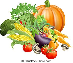 Healthy fresh produce vegetables - Illustration of produce...