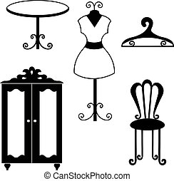 furniture - Antique furniture silhouettes vector