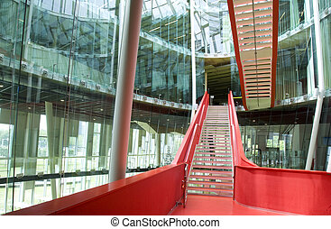 Red stairs - Modern red stairs in the Hijmans van den Bergh...