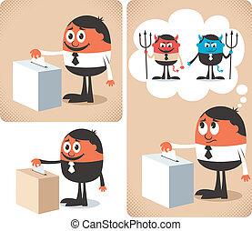 Vote - Man voting at ballot box