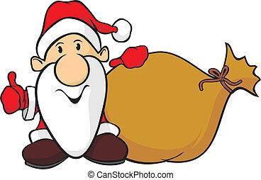 santa claus and bag - holiday cartoon of santa with a bag of...