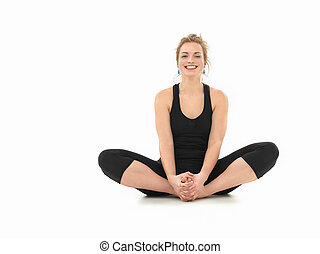beginner yoga practice - young girl laughing, in yoga pose,...