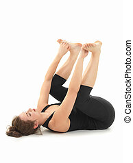 relaxation yoga posture - young woman practicing relaxation...