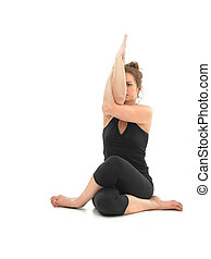difficult yoga pose - advanced yoga sitting posture by young...