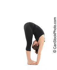 demonstration of elasticity yoga pose - young girl in...