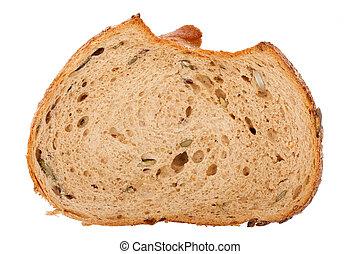 Slice of brown seedy bread - Brown seedy bread slice...
