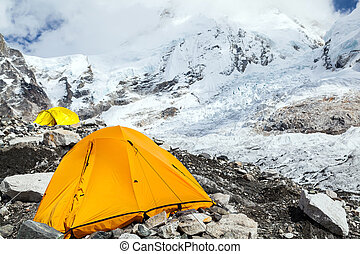 Everest Base Camp and tent - View on Everest Base Camp in...