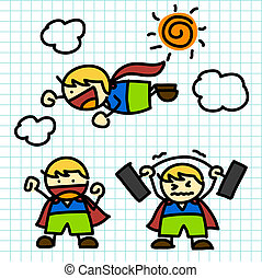 Kids hand writing cartoon vector