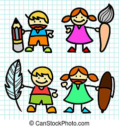 Kids hand writing cartoon . vector