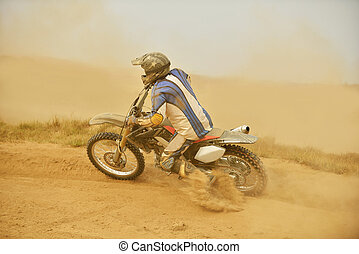 motocross bike - motocross bike in a race representing...